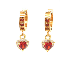 Surgical Steel Red Tiny Heart Earrings