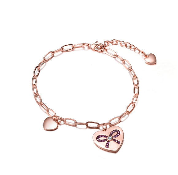 Sterling Silver Rose Gold Plated Heart Paper Clip Chains Bracelet