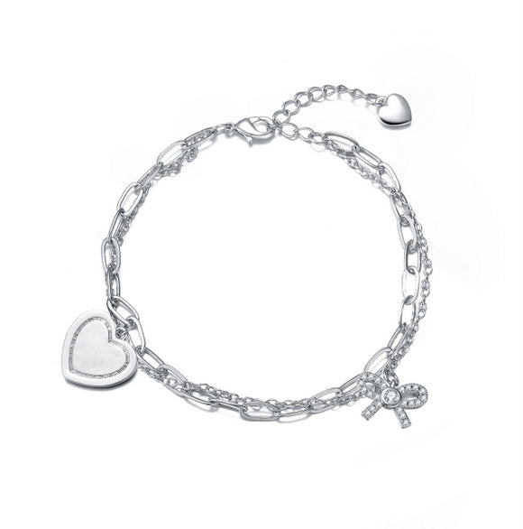 Sterling Silver Rhodium Plated Heart Paper Clip Chains Bracelet