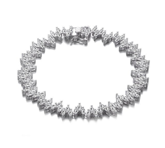 Sterling Silver Clear Marquise CZ Three-Stone Link Tennis Bracelet