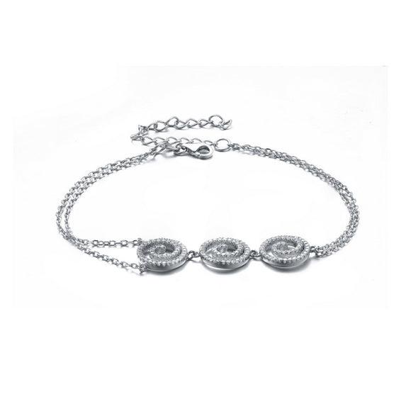 Sterling Silver Rhodium Plated CZ Circle Bracelet