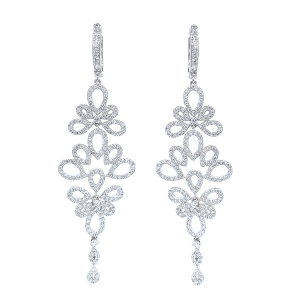 Sterling Silver Large Floral Earring