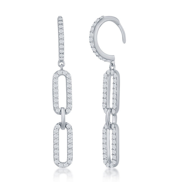 Sterling Silver Double Link CZ Paperclip Earrings