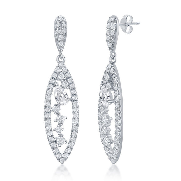 Sterling Silver Marquise Multi-Shaped CZ Earrings
