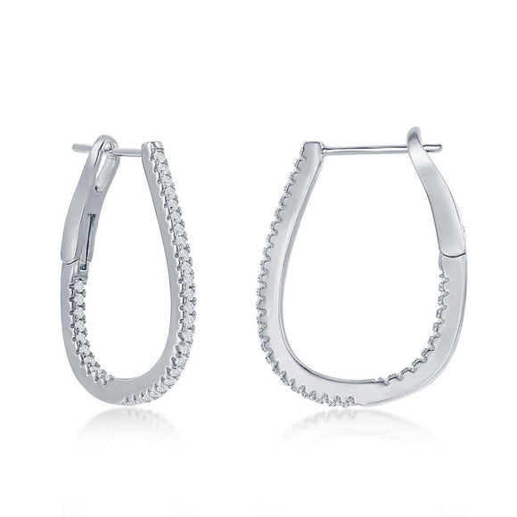 Sterling Silver Thin Oval Hoop CZ Earrings