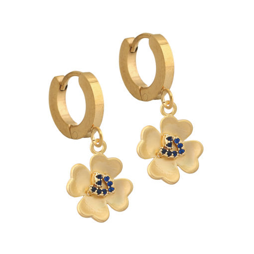 Surgical Steel Matte Gold Four Petal Flower Earring