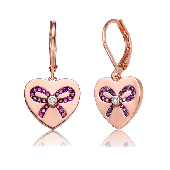 Sterling Silver Rose Gold Plated with Pink CZ Leverback Earrings