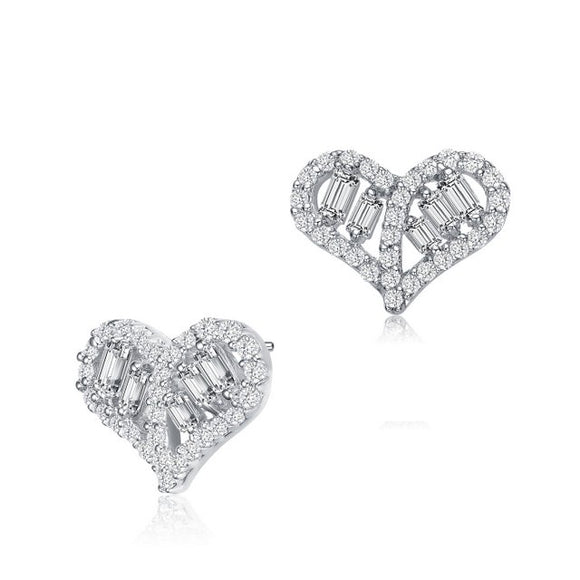 Sterling Silver Baguette and Round CZ Heart Stud Earrings