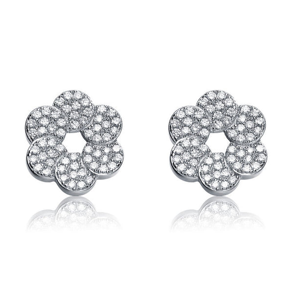 Sterling Silver CZ Round Flower Shape Earrings