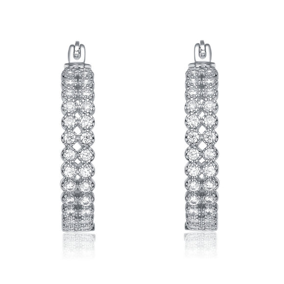 Sterling Silver CZ 24 mm Hoop Earrings