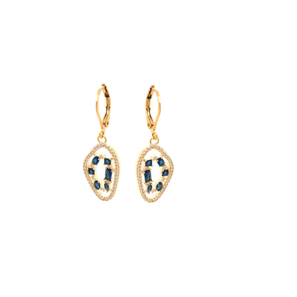 Gold Plated Earring In Natural Stone Shape With Micropave Stones