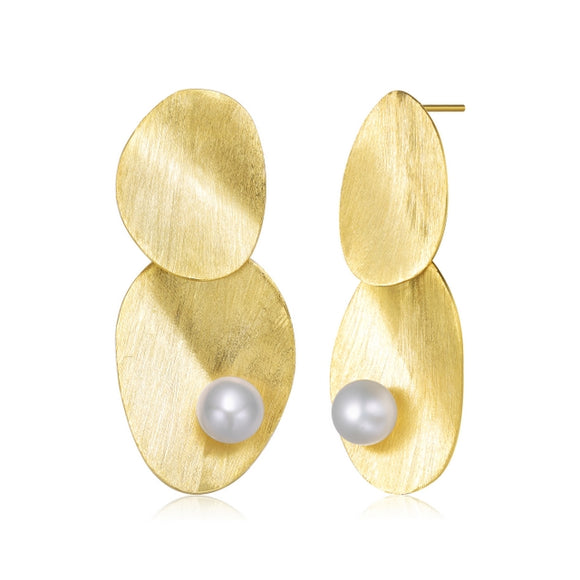 Sterling Silver Gold Plated with Freshwater Pearl Earrings