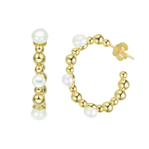 Sterling Silver with Gold Plated and 5MM Fresh Water Pearls Hoop Earrings
