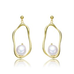 Sterling Silver with Gold Plating and Freshwater Curvy Dangling Earrings