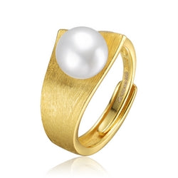 Sterling Silver Gold Plated with Freshwater Pearl Linear Ring