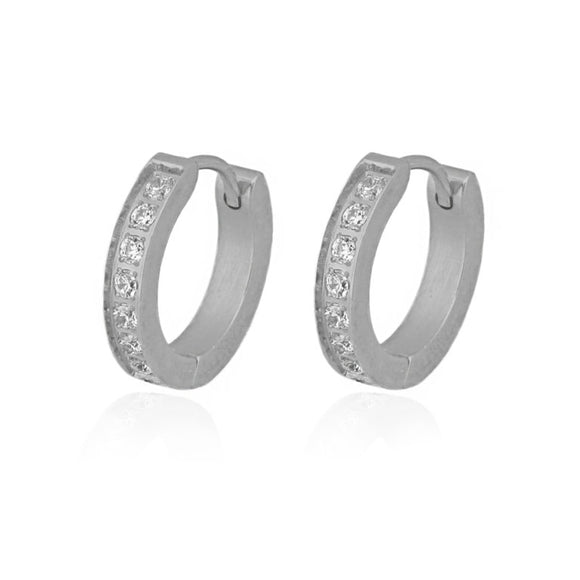 Surgical Steel CZ Hoop Earrings (Rhodium)
