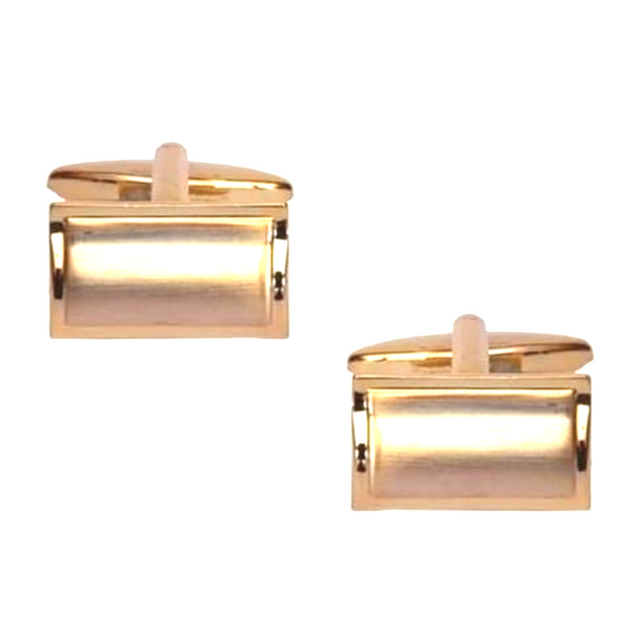 Shiny Edge Brushed Gold Plated Rectangular Curved Cufflinks