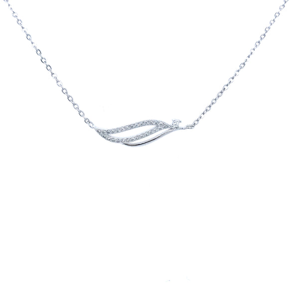 Sterling Silver Wave Bar Necklace
