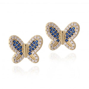 Surgical Steel Blue CZ Butterfly Stud Earrings