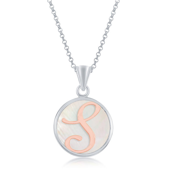 Sterling Silver Mother Of Pearl Initial