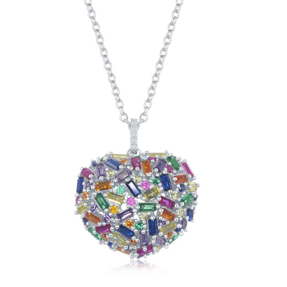 Sterling Silver Rainbow Baguette CZ Puffed Heart Necklace