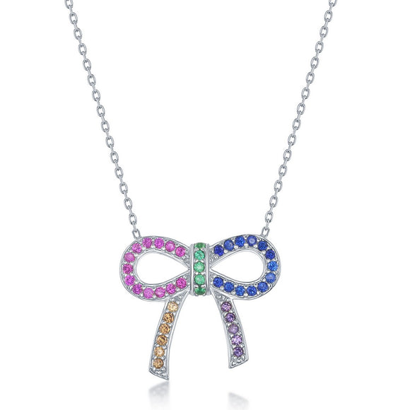 Sterling Silver Rainbow CZ Bow Knot Necklace