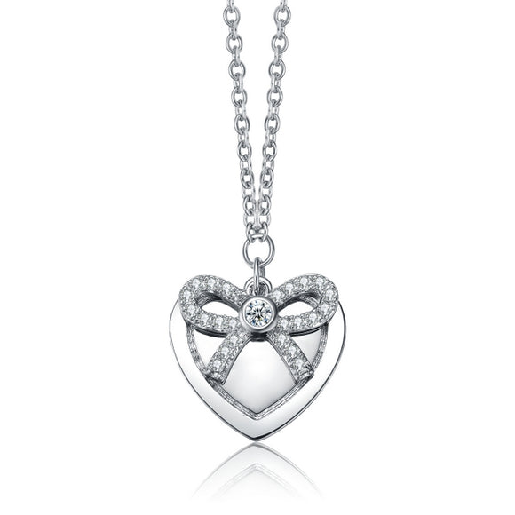 Sterling Silver with Rhodium Plated and CZ Heart Necklace