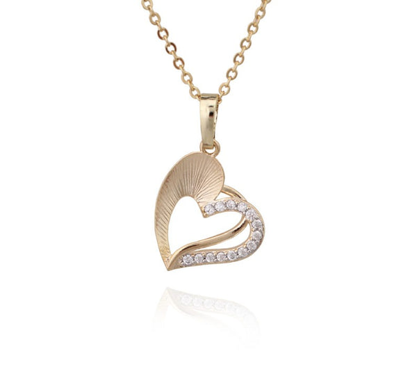 Brushed Gold Half-CZ Heart Necklace