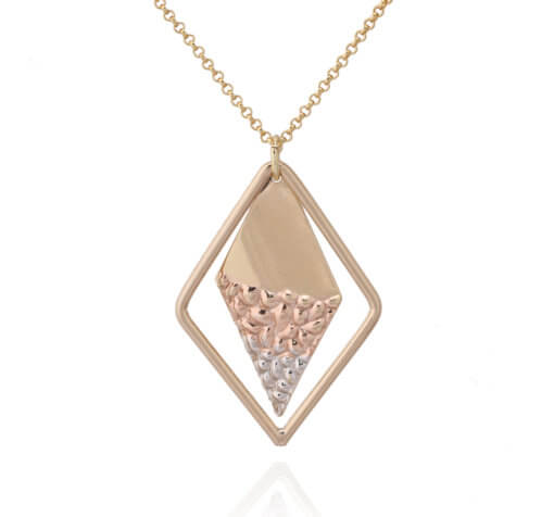 Tricolored Geometric Double Triangle With Hammered Pebbles Pendant