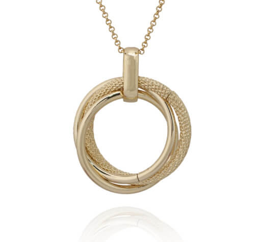 Gold Plated Triple Ring Pendant