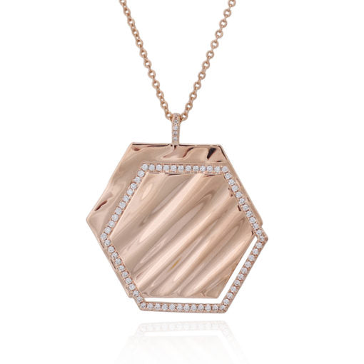 Textured Hexagon And CZ Pendant