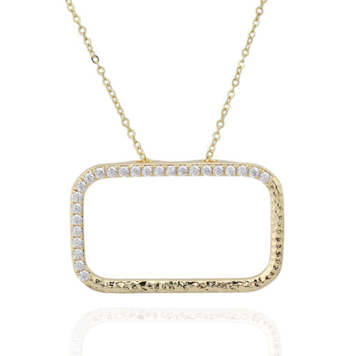 Gold Plated Rectangle Frame Pendant