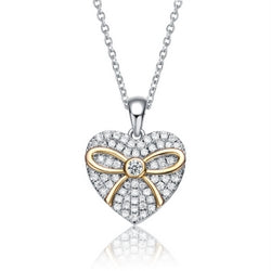 Sterling Silver Two Tone and Clear CZ Heart Necklace