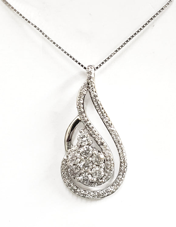 White Gold Diamond Twisted Teardrop Cluster Pendant
