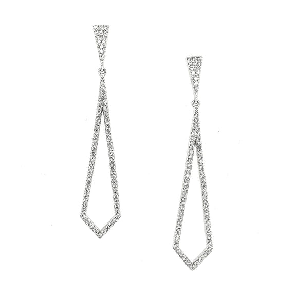 Sterling Silver CZ Long Diamond Shaped Earring