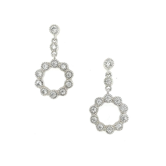 Sterling Silver CZ  Small Flower Shaped Earring