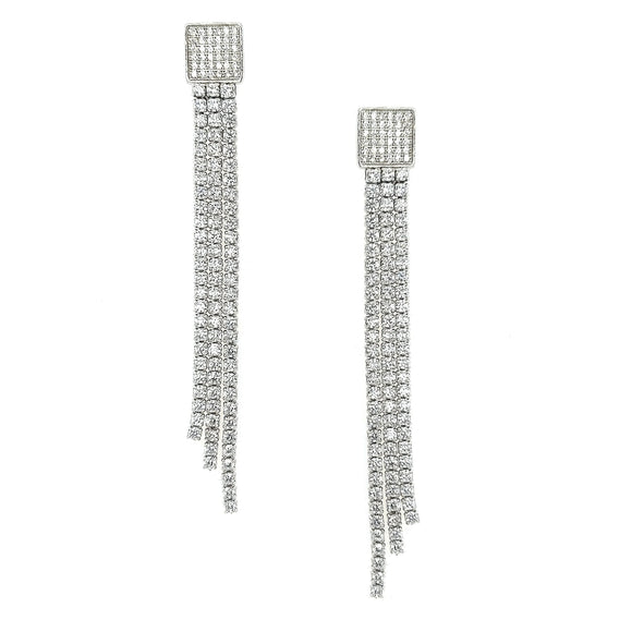 Sterling Silver CZ Long Tennis Strands Earring