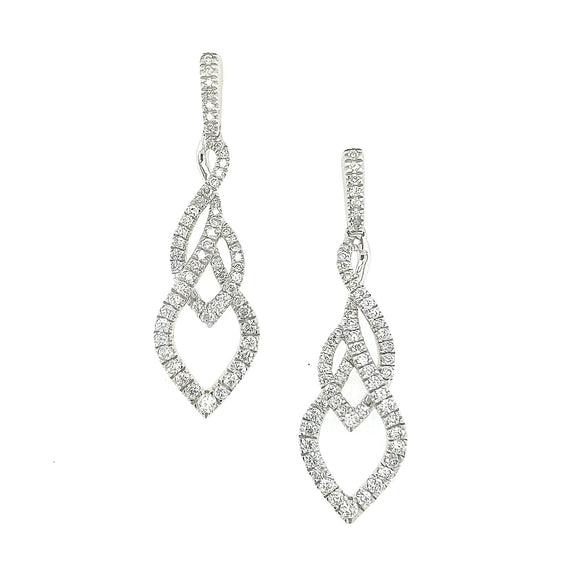 14K Gold and Diamond Braided Earring