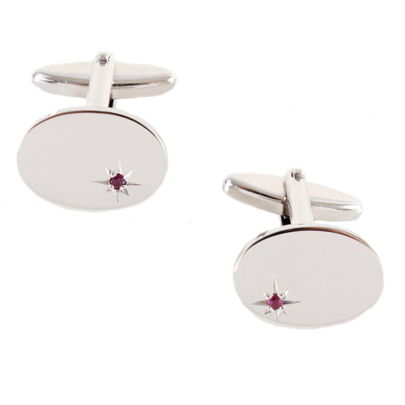 Oval Ruby CZ Star Set Rhodium Plated Cufflinks