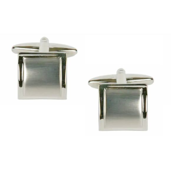 Shiny Edge Brushed Rhodium Plated Square Curved Cufflinks