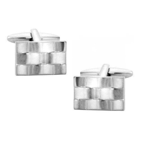 Rhodium Plated Rectangular Watch Band Style Cufflinks