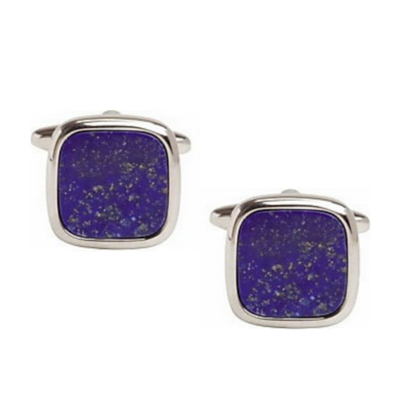 Rhodium Plated Cushion Shaped Lapis Lazuli Cufflinks