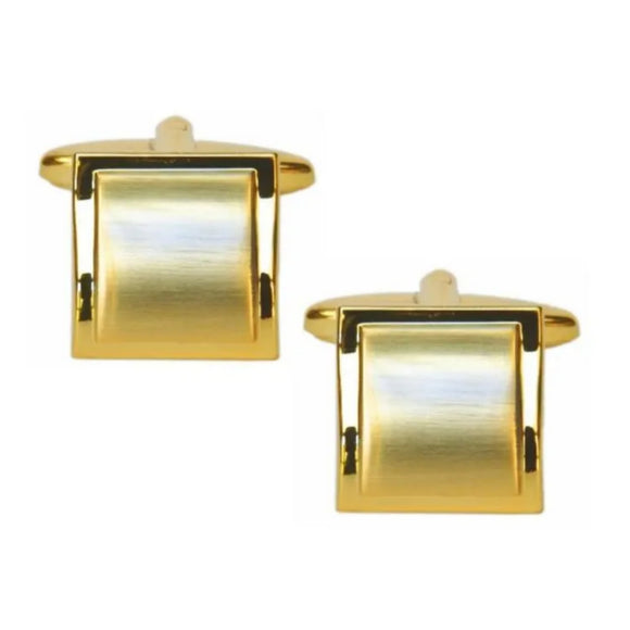 Shiny Edge Brushed Gold Plated Square Curved Cufflinks
