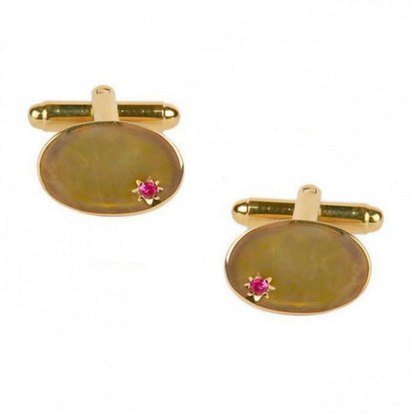 Oval Ruby Star Set Gold Plated Cufflinks