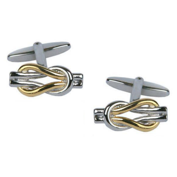 Two Tone Gold and Rhodium Plated Intertwined Cufflinks