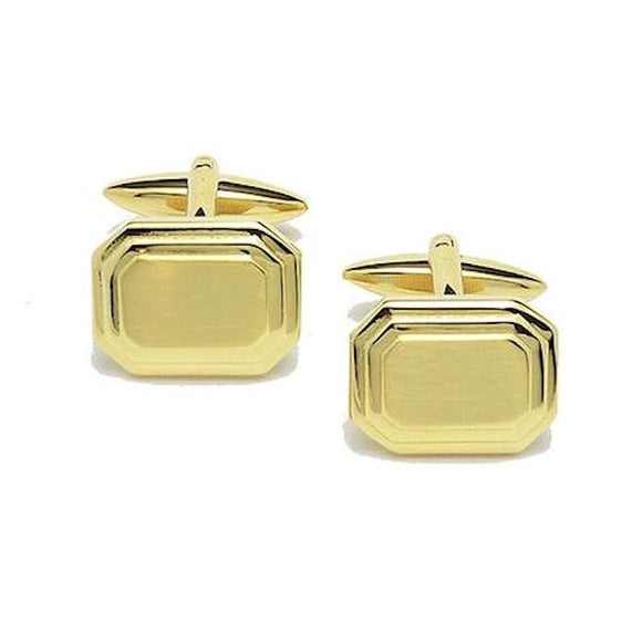 Gold Shiny & Brushed Rectangle Gold Plated Cufflinks