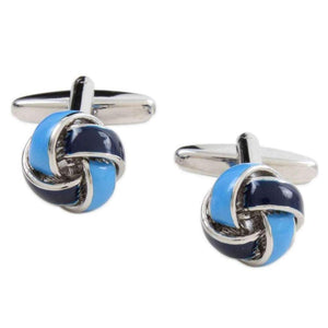 Rhodium Plated Two Tone Blue Knot Cufflinks
