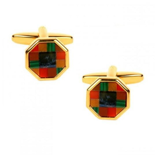 Multi Colored Octagonal Gold Plated Cufflinks