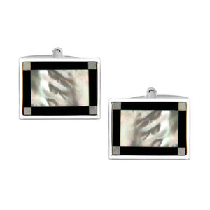 Rectangular Mother of Pearl & Onyx Rhodium Plated Cufflinks