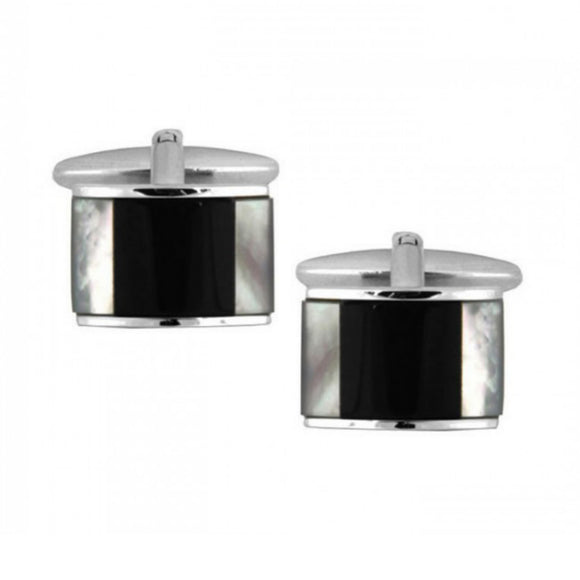 Rectangle Curved Mother of Pearl & Onyx Rhodium Plated Cufflinks